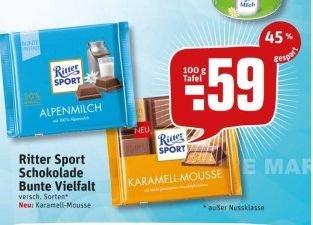 [Rewe /Kaufpark] Ritter Sport bunte Vielfalt (100g) für 0,59€