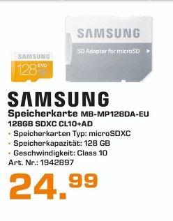 [Lokal Saturnmärkte Bremen] Samsung Speicherkarte MicroSDXC 128GB GB EVO UHS-I Grade 1 Class 10 (bis zu 48MB/s Transfergeschwindigkeit) mit Adapter für 24,99€