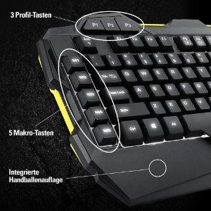 Sharkoon Shark Zone K30 Gaming-Tastatur mit LED-Beleuchtung,  5 Spiel-Profile mit automatischer Aktivierung beim Start des Spiels, Individuell konfigurierbare Tastenfunktionen, schwarz für 25,30€ @Amazon.de Blitzangebote
