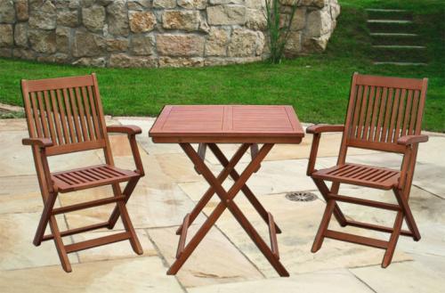 3tlg. Balkon Set aus Holz 1 Tisch + 2 Stühle klappbar Garten Möbel Sitzgruppe