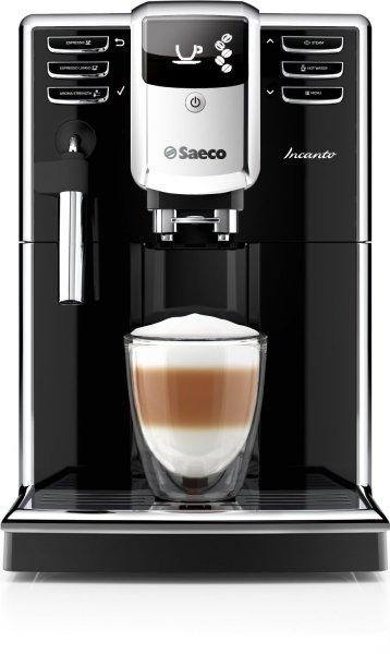 Saeco HD8911/01 Incanto Kaffeevollautomat, AquaClean, klassischer Milchaufschäumer, schwarz