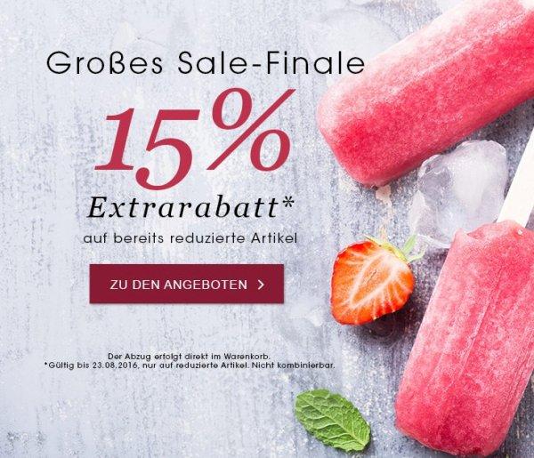 15% extra Rabatt auf bereits bis zu 60% reduzierte Ware bei Peter Hahn (hochwertige Damen- und Herrenkleidung)