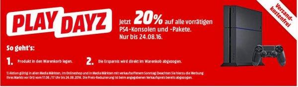 [MediaMarkt] 20% Rabatt auf alle vorrätigen Playstation 4 Pakete.
