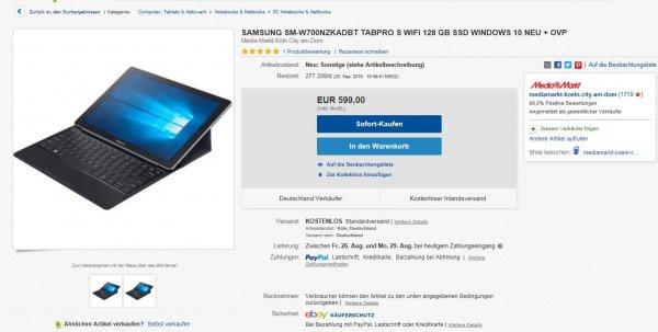 [Media Markt eBay] SAMSUNG SM-W700NZKADBT TABPRO S WIFI 128 GB
