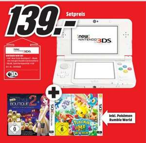 [Lokal Mediamarkt Main-Taunus] Nintendo New 3DS weiß + New Style Boutique 2: Mode von Morgen + Pokémon: Rumble World für 139,-€