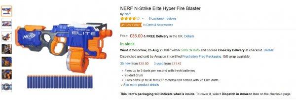 Hasbro Nerf N-Strike Elite Hyperfire für €47,86 [Amazon UK]