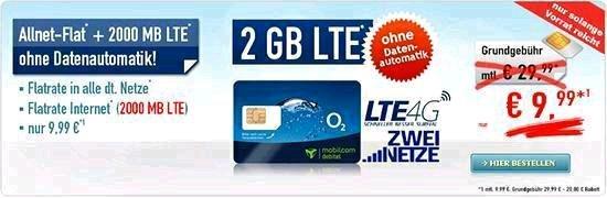 Allnet- Flat mit 2GB LTE ohne Datenautomatik für 9,99€ /Monat