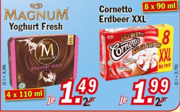 Zimmermann KW35 Magnum Yoghurt Fresh 1,49 € , Cornetto Erdbeere 8 Stück 1,99 €