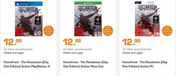 [Saturn Late Night] Homefront - The Revolution (Day One Edition] (PS4,XB1,PC) für je 12,99€ Versandkostenfrei**Spiel steht auf der Eintauschliste**