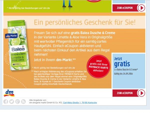 [dm] gratis Balea Dusche & Creme Payback