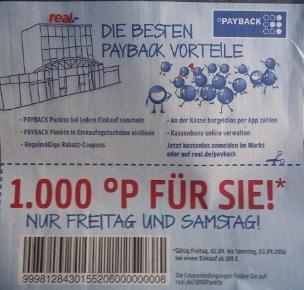[Real - Offline - Payback] ab 100 € Einkauf gibt es 1000 Payback Punkte
