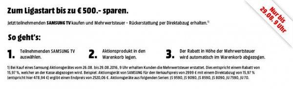 19% Direktabzug bei MediaMarkt auf viele Samsung SUHD-TVs am 26. bis 29.08.2016