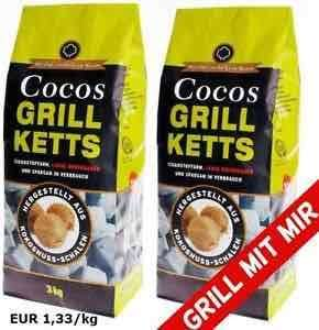 6kg Cocos Premium Grill Briketts Holzkohle aus Kokosnussschalen ökologisch - Balkon [eBay]