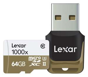 Lexar Professional 1000x microSDXC 64GB Class 10 / UHS-II / U3 (Read: 150MB/s & Write: ab 40MB/s) für 19,82€ [Amazon.co.uk]
