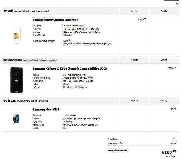 Galaxy S7 Edge + Gear Fit 2 + D2 Allnet 2GB
