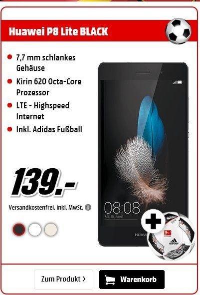 Huawei P8 Lite LTE + Dual-SIM (5x27x27 HD IPS, Kirin 620 Octacore, 2GB RAM, 16GB intern, 5MP + 13MP Kamera, 2200 mAh, Android 6)in weiß,schwarz und Gold inc. Adidas Ball für je 139,-€ Versandkostenfrei [Mediamarkt]
