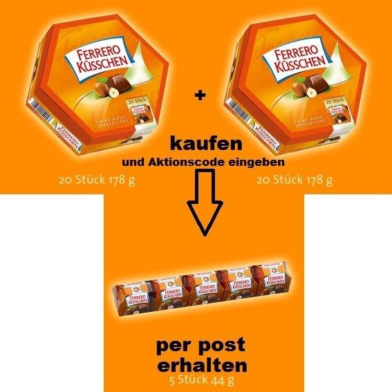 2x Ferrero Küsschen 178g Aktionspackungen kaufen und 44g Stange zusätzlich per Post erhalten (oder als Geschenk senden)