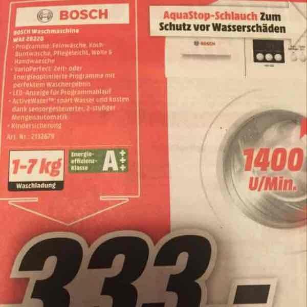 Mediamarkt Papenburg: Bosch Waschmaschine WAE28220