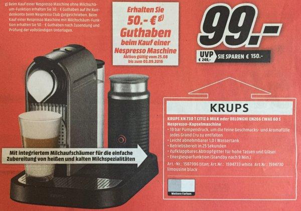 [Media Markt SW/NES] Krups XN 730 T Citiz&Milk oder DeLonghi EN266 CWAE 60 S Nespresso Maschine + 50€ Nespresso Club Guthaben
