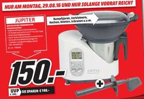 [Lokal Mediamarkt Hallstadt-Bamberg] Jupiter Thermomaster Multifunktionsküchenmaschine (881001] inc. Rezeptbuch für 150,-€ **Nur am 29.08.2016**