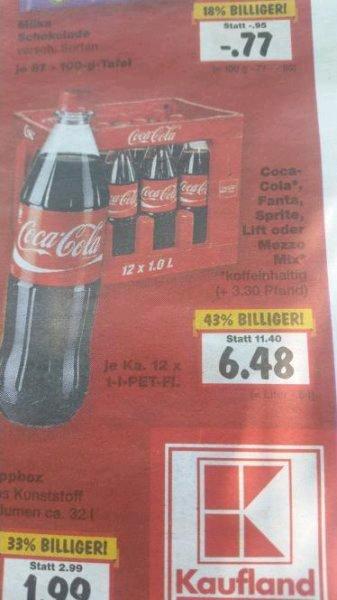 [Kaufland (Lokal Lollar)] Coca Cola 12x1L für 6,48€ 0,54€-L