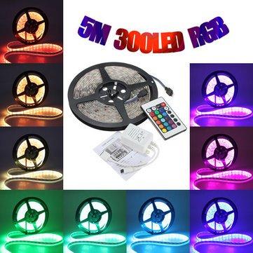 [banggood] 5-m-RGB-LED-Streifen, 300 LEDs (60 LEDs/m), wasserdicht mit 24-Tasten-Fernbedienung für 7,99 US$