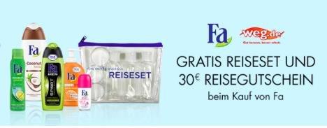 (Amazon.de) Fa Reiseset gratis beim Kauf von einem Fa Artikel + 30€ weg.de Reisegutschein