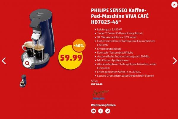 PHILIPS SENSEO Kaffee-Pad-Maschine VIVA CAFÉ HD7825-46 59,99€ ab 01.09.2016 bei Penny, nicht in allen Filialen erhältlich