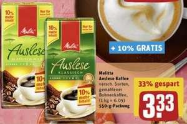 [REWE] Melitta Auslese Kaffee 550g 3,33EUR