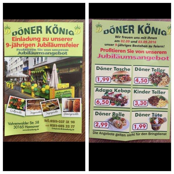 [Lokal Hannover] Döner & mehr bei Döner König am 02.09. und 03.09. ab 1,99€
