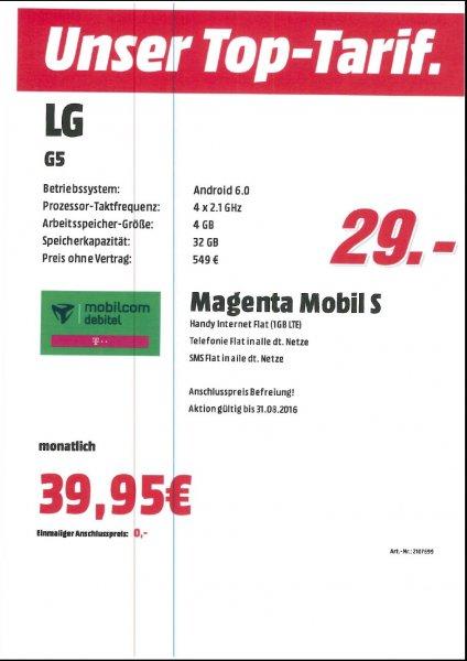 LG G5 (987,80 €) Lokal MD - MM Mühldorf inkl. Magenta Mobil S Tarif