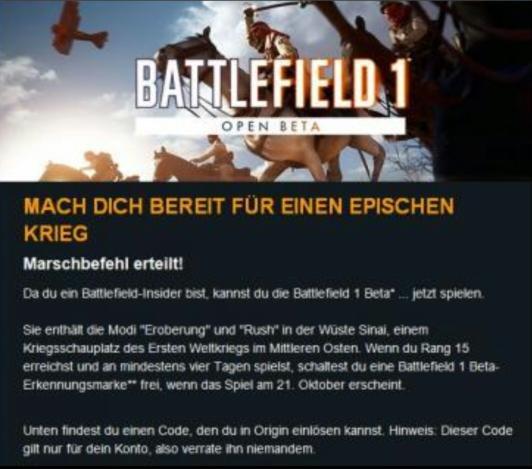 31 August Battlefield 1 Open Beta + Erkennungsmarke Kostenfrei erhalten