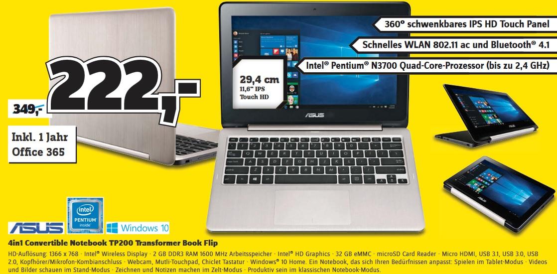 [Conrad online/offline] Asus TP200SA-FV0133T 29.5 cm (11.6 Zoll) Notebook, Intel Pentium, 2 GB, 32 GB eMMC, Intel HD Graphics, Windows 10 Home, Silber + 1 Jahr Office 365 für 216,45€ mit Newslettergutschein