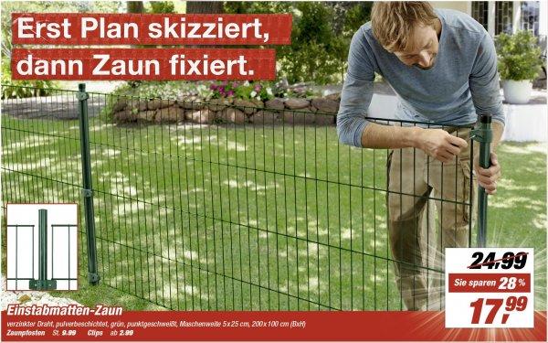 Einstabmatten-Zaun 200x100 cm - 17,99 Lokal bei vielen TOOM Märkten.