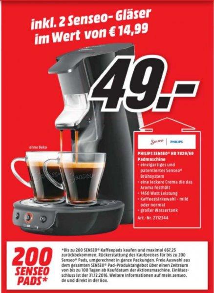 [Lokal Mediamarkt Bad Cannstadt] : Philips Senseo Viva Cafe HD 7829 inkl. 200 Gratis Kaffepads + 2 Original Senseo Gläser für 49,-€