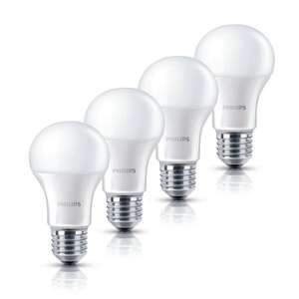 4er Pack Philips LED Lampe 6 W ersetzt 40W E27 2700K warmweiß 470lm EEK A+