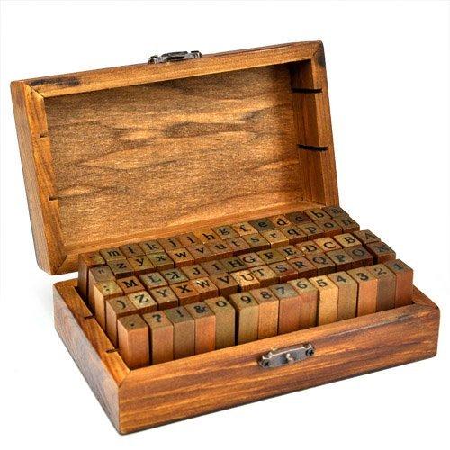 70-tlg. Holz Gummi Stempel Set Box