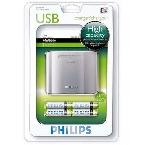 Philips SCB 5050 NB / 12 USB-Ladegerät (inkl. 4 AA-Akkus 2100mAh)