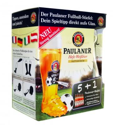 Paulaner (5+1) Hefe-Weißbier + Fußballstiefel mit Kreidestift, Tipp direkt aufx27s Glas, streng limitiert! (Metro Neuss)