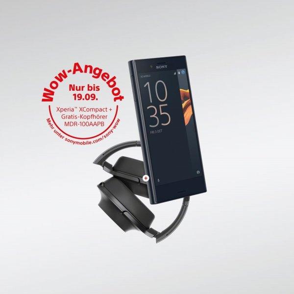 Sony Xperia XCompact mit Kopförer im Wert von 137,10 Euro (Amazon) dazu