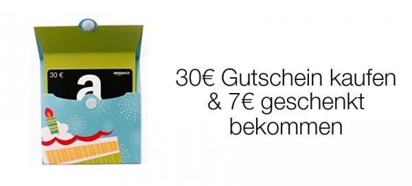 """Amazon: 30€ Gutschein kaufen & 7€ Gutschein geschenkt bekommen. [""""Exklusiv auf Einladung""""]"""