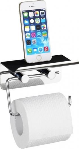 Wenko Edelstahl Toilettenpapierhalter mit Smartphone-Ablage @digitalo.de