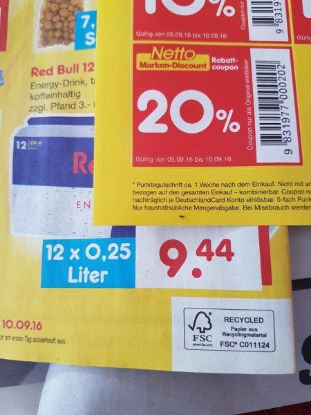(lokal) netto ohne Hund Red Bull 0,25 l Dose für 0,63€