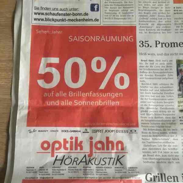 50% Rabatt auf Brillenfassungen und Sonnenbrillen