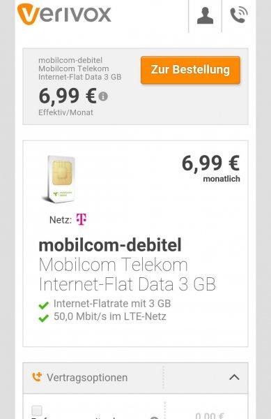 3GB LTE Flat Ix27m Telekom Netz über Verivox / mobilcom