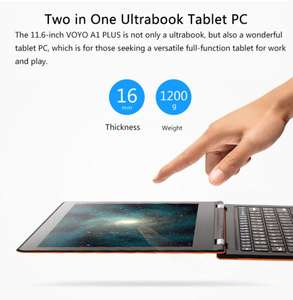 "VOYO A1 Plus Ultimate Ultrabook: 11,6"" Full HD IPS Screen, Intel Z8300, 4GB Ram, 64GB Speicher, HDMI 4K Output, WIFI, Bluetooth, USB 3.0, 10000mAh Batterie, Win 10 incl. Office 365, Touchpen für 189,18€ @Gearbest"