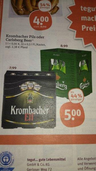 Carlsberg Beer oder Krombacher 11x0,5L für 5€ lokal / regional Tegut nur Freitag / Samstag