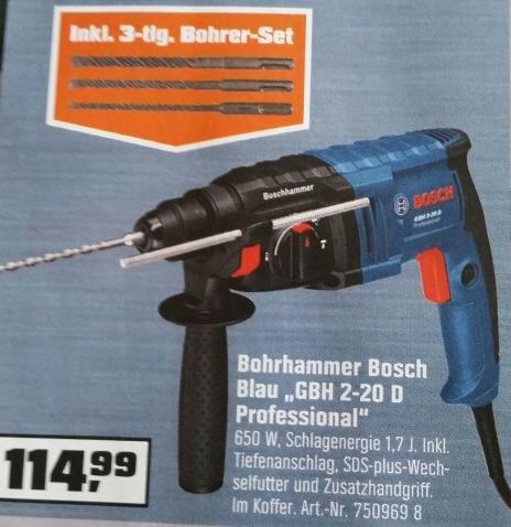 [Lokal OBI] BOSCH Bohrhammer GBH 2-20 D inkl. Bohrerset