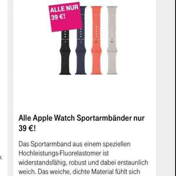 [Telekom Shop] Alle Apple Watch Sport Armbänder 39€