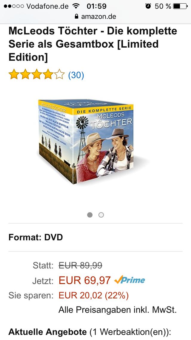 [Amazon] McLeods Töchter - die komplette Serie als Gesamtbox (Limited Edition) für 69,97 Euro